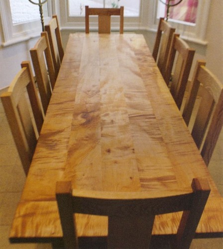 sycamore refectory table, bespoke carpenter