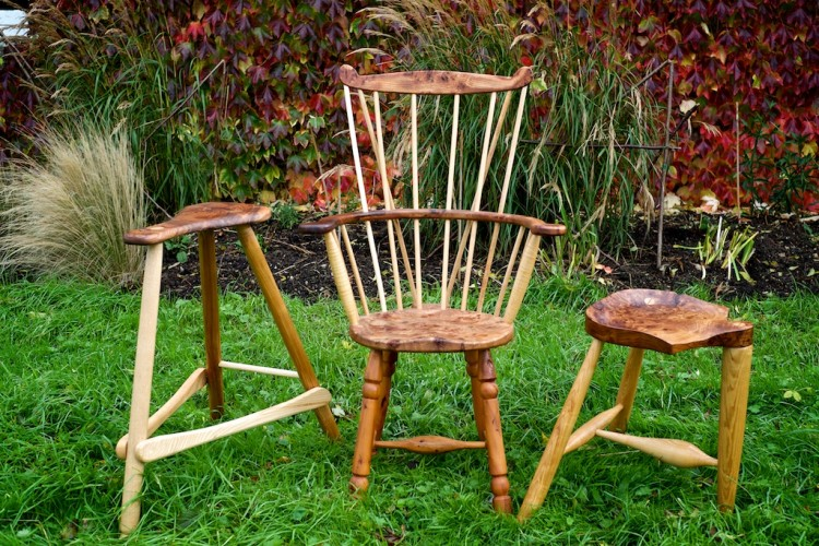 Windsor chair and two stools
