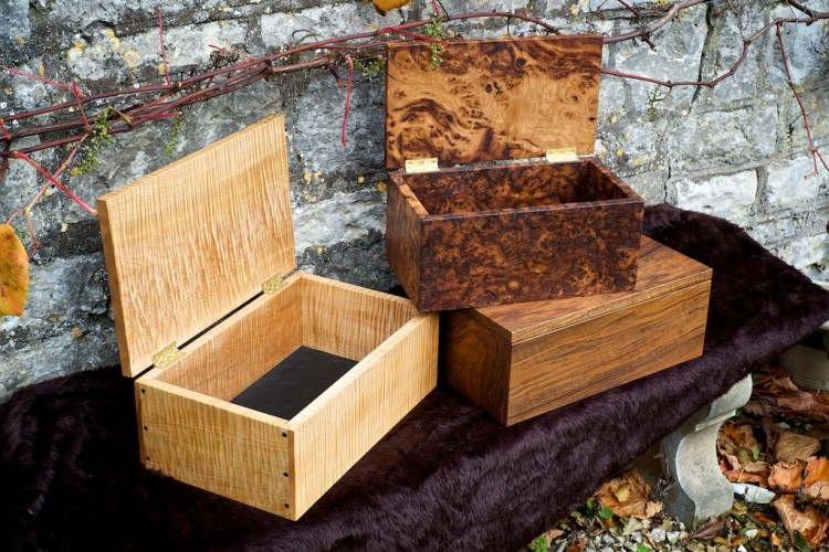 Wooden jewellery boxes, burr oak, ripple maple, walnut