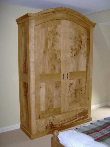 English oak and burr oak armoire