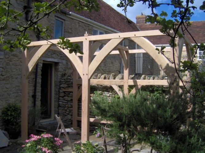 bespoke outdoor furniture, green oak pergola